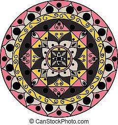 mandala, gray-pink