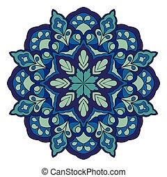 Mandala in shades of blue.