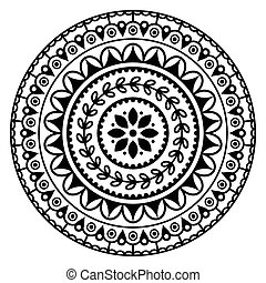 Mandala, Indian inspired pattern - Black abstract pattern in...