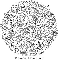mandala, inspirado, leaves., zenart, mendie, flores, style.