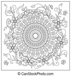 mandala into the circle and flowers - Hand drawn tangled...