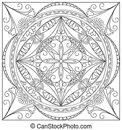 mandala into the square - Mandala with hand drawn geometric...