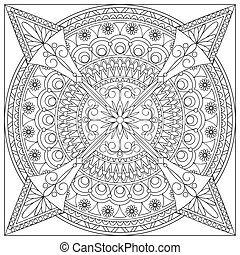 mandala into the square - Mandala with hand drawn geometric ...