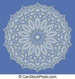 Mandala Isolated on Blue Background