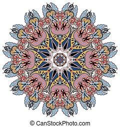 mandala, karika, dekoratív, lelki, indiai, jelkép, közül, lótusz
