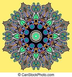 mandala, karika, dekoratív, lelki, indiai, jelkép, közül, lótusz, folyik