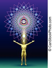 Mandala Man Gold Race - The symbolic image of the mandala as...