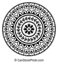 mandala, muster, inspiriert, indische