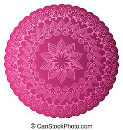mandala of color pink with a white background