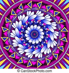 mandala, okrągły, ozdoba, próbka, kwiatowy, rysunek