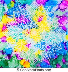 Mandala on Rainbow Background