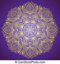 mandala, or, dentelle, rond, élégant, ornement