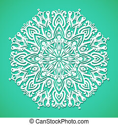 Mandala or snowflake on bright turqoise - Vector...