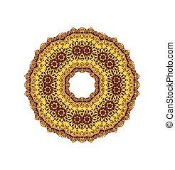 mandala., ornament, ronde, aframmelen