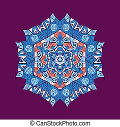 mandala, ornement, à, espace, pour, ton, text., vecteur,...