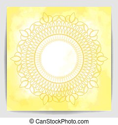 Mandala over yellow  watercolor fog background
