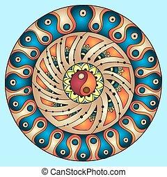 mandala., pattern., rond, ornement