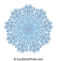 Mandala pattern. Watercolor vector blue background.