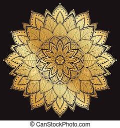 Mandala pattern.Arabic Vintage decorative ornament.Mandala on black background.