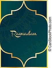mandala ramadan kareem pattern with golden frame
