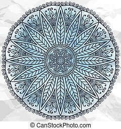 Mandala - Round vector ornament in ethnic style. Hand draw