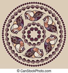 mandala, seashells., feito