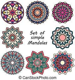 Mandala. Set of ethnic round ornaments.