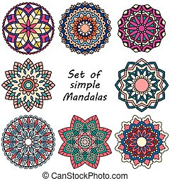 Mandala. Set of ethnic round ornaments.