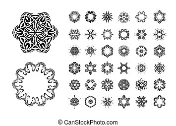 mandala, set, ornament, ronde