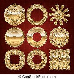 mandala, set., versão, ouro, vermelho