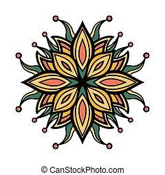 Mandala Square ornament, tribal ethnic pattern, arabic...