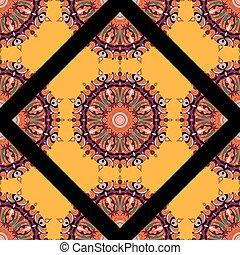 mandala, stam, årgång, etnisk, mönster, seamless, mönster, vektor, illustration