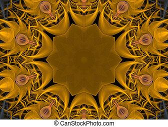 Mandala, stjärna, gul