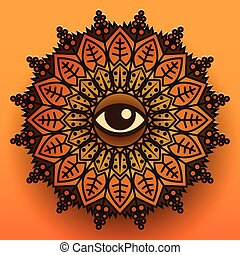 Mandala symbol on orange background. Vector illustration