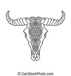 Mandala tattoo style dead cow head. Decorative ornament buffalo skull. Native indian art. Vector black and white illustration. Ethnic sketch design. Tribal boho style pattern.