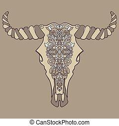 Mandala tattoo style dead cow head. Decorative ornament buffalo skull. Native indian art. Vector illustration. Ethnic sketch design. Tribal boho style pattern.
