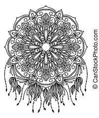 Mandala vector illustration. Round ornament. Adult coloring...
