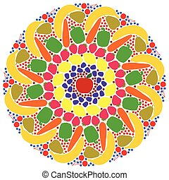 Mandala Vegetables Fruits Colors