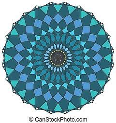 mandala, verde azul, desenho, padrão, cores