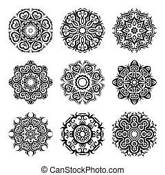 Mandala set. Circular ornament on black background. Ethnic vintage pattern collection.