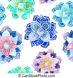 Mandala watercolor pattern. - Seamless pattern with...