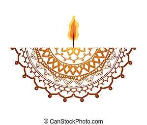 mandala with a candle on white background