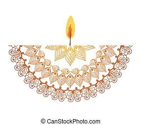 mandala with a pale orange candle on white background