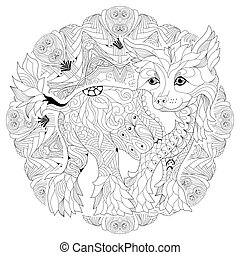Mandala with dog for coloring. Vector decorative zentangle...