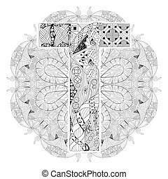 Mandala with letter T for coloring. Vector decorative zentangle