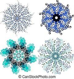 Mandala with twists. set of circular patterns.
