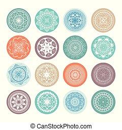 mandalas colors boho style set