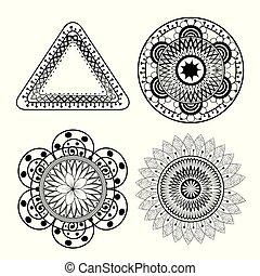 mandalas monochrome boho style set