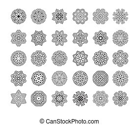 mandalas., vector, ornament, ronde, set