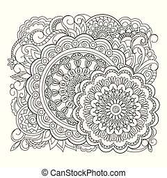 mandalas with spiral and flowers
